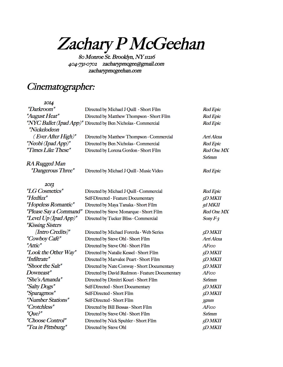 Zack M Cinematography  Resume Hints